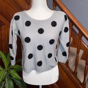 🌷Grey and black big polka dot knit sweater